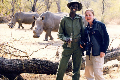 "Justine with ""Rhino guard"". White Rhino, Zambia."