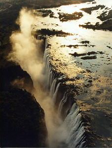 Zambezi River and Victoria falls. Taken from our helecopter late afternoon.