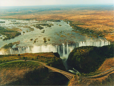 Zambezi River, Victoria Falls and bridge crossing from Zimbabwe to Zambia. View from helecopter.