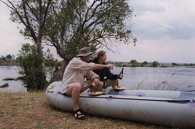 Justine and me on the banks of the Zambezi River.