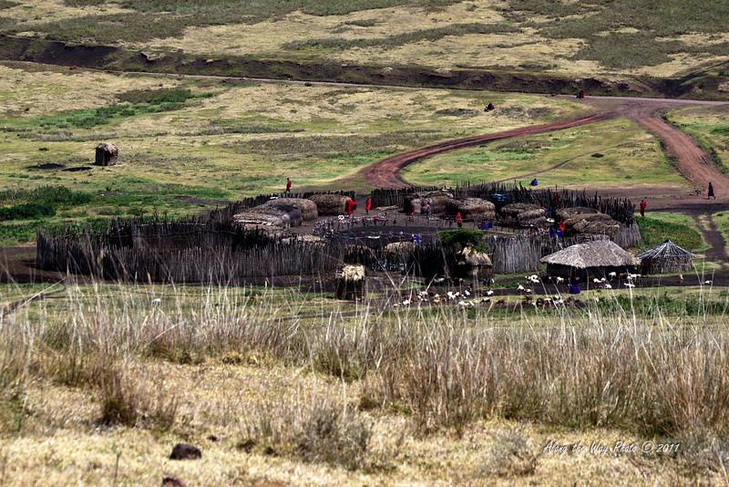 Village 1<br /> Maasai Village, Boma or circle village, on the way to the Ngorongoro Crater.