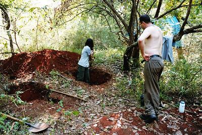 Digging out bog pits
