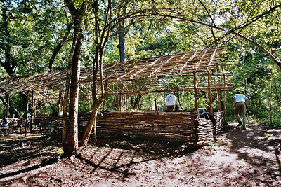 """Simba camp"" - we're sleeping in these self-constructed Bandas"
