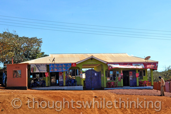 This series of photos were taken after we had left the Crater area and were driving from Lemala Ngorongoro Camp to Manyara airstrip for our flight to Kogatende airstrip and on to Sayari Mara Camp in the northern Serengeti National Park near the Mara River. This appears to be a roadside cafe.