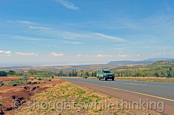 view along route B144 toward Lake Manyara and the airstrip