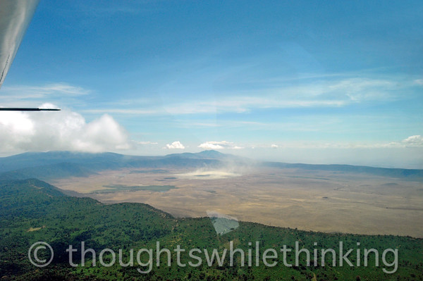 This is a view of the northern two-thirds of Ngorongoro Crater with Lake Magadi in the center of the picture.