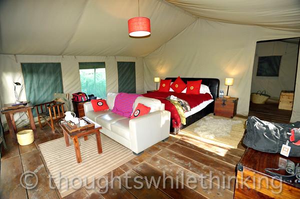 inside our tent at Lemala Ngorongoro Camp