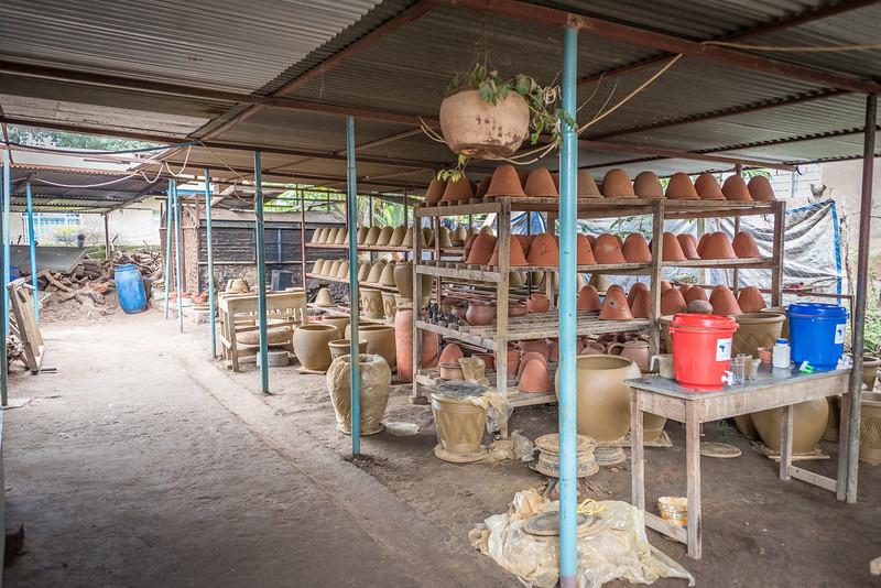 Kiln, storage and demo table