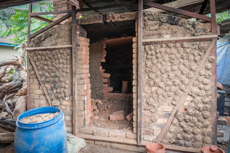 Kiln used to fire the ceramics