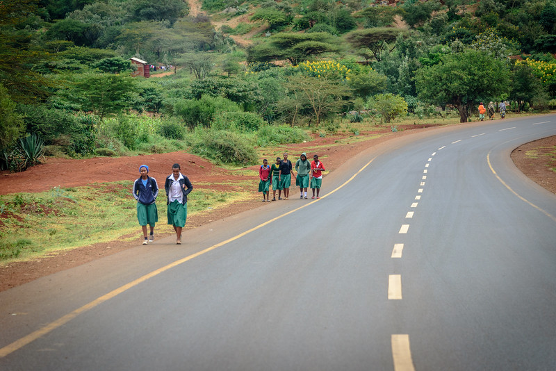 Karatu students returning from school