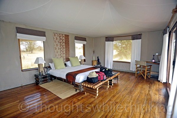 Our large bedroom, complete with 2-way radio to camp staff.