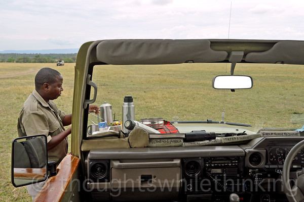 After almost an hour of checking the herd and other animals, several crossing sites, and with other guides by radio, Albert decides that we can relax with tea, cakes, cookies and fruit. This break lasts for an hour and a half. Life is tough out here on the savanna!