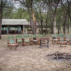 Campfire seating and dining area