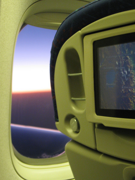 Equator sunset - you can just see the line on the inflight screen.