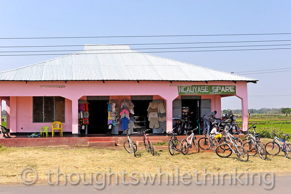 On our way to Ngorongoro Crater two hours or so out of Arusha, a bicycle and clothing store.