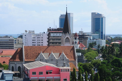 St. Joseph's Cathedral in Dar es Salaam, opposite the harbor at Kivukoni. Other DSM photos can be seen here.