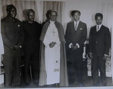 This photo was among the materials waiting to be archived at The Episcopal Centre (TEC) at Kurasini, Dar es Salaam. It was most likely taken in Kampala on the occasion of Pope Pius VI's visit to Uganda, on either 31 July or 1 August, 1969. Pictured are Kenneth Kaunda (President of Zambia), Julius Nyerere (President of Tanzania), Pope Pius VI, Milton Obote (President of Uganda), and Grégoire Kayibanda (President of Rwanda).