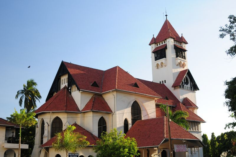 Cathedral at the headquarters in Dar es Salaam of the Evangelical Lutheran Church in Tanzania (also known as the KKKT, Kanisa la Kiinjili la Kilutheri Tanzania).