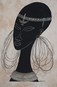 A Heidi Lange batik depicting a Masaai woman