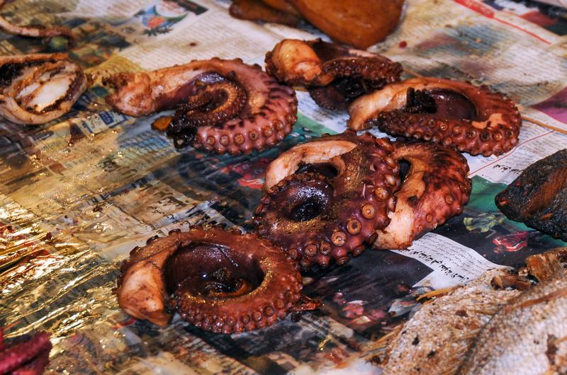 Seafood Street Food, for sale in Stone Town, Zanzibar, Tanzania.