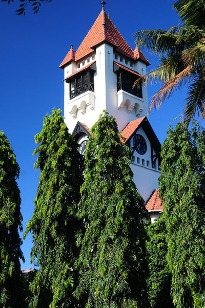 Spire of the cathedral at the headquarters in Dar es Salaam of the Evangelical Lutheran Church in Tanzania. The church is next to the old Post Office and overlooks Kivukoni bay.