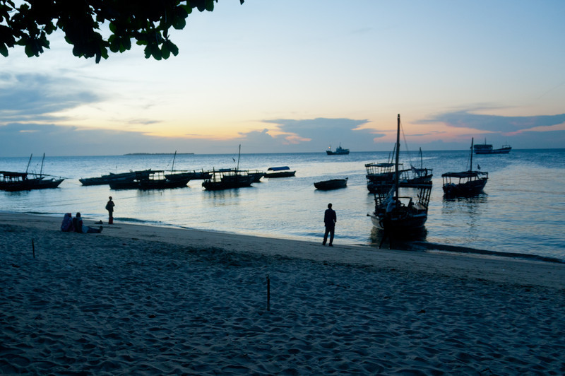 Beach in Stone Town, Zanzibar at Sunset.