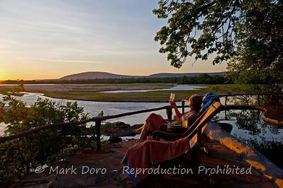 Sunset drinks, Sand River Camp, Rufiji River, Selous, Tanzania