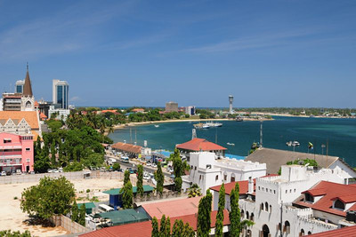 St. Joseph's Cathedral (left) and ferry terminals in Kivukoni, Dar es Salaam