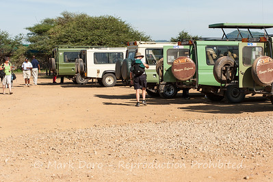 Safari vehicles, Seronera airstrip, Serengeti, Tanzania