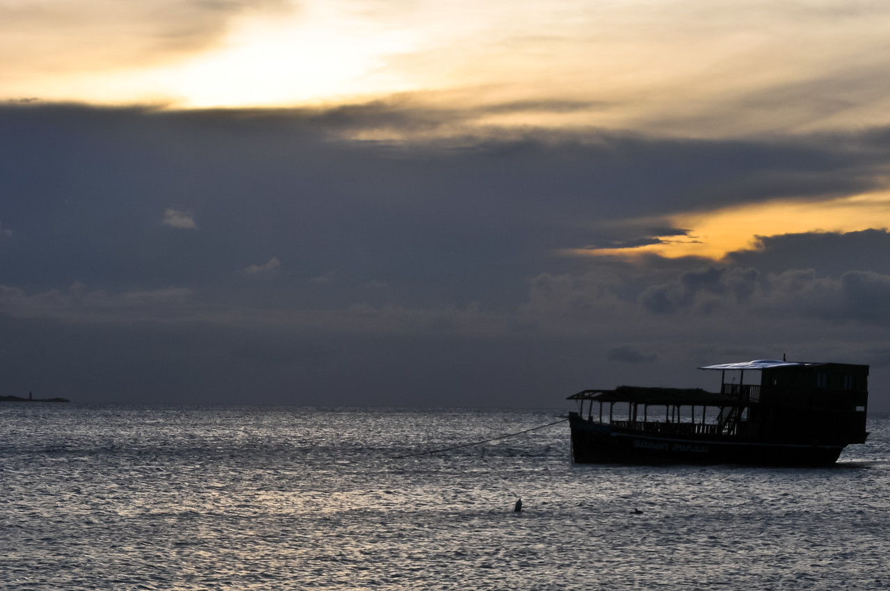 View of Kendwa Beach, Tanzania at sunset.