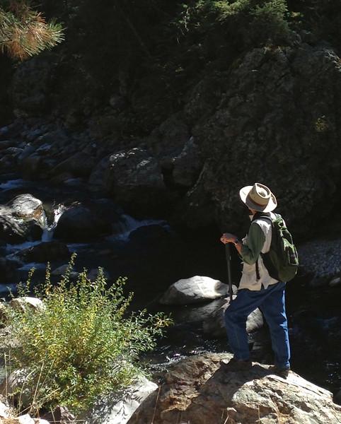 Gary at the Rio Brazos, near Tierra Amarilla, New Mexico. Photo by Rita.