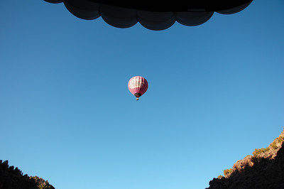 View of the other balloon and the canyon walls and the upper half of our balloon, Sunset Ride.
