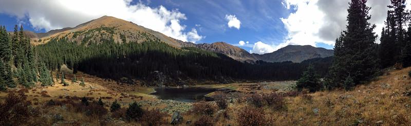 Panorama of Wheeler's Peak (left) at 11,140 ft, and William's Lake. Photo by Rita.