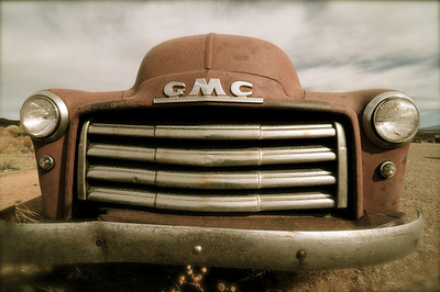 Old GMC car in the Earthship community just outside Taos, New Mexico.