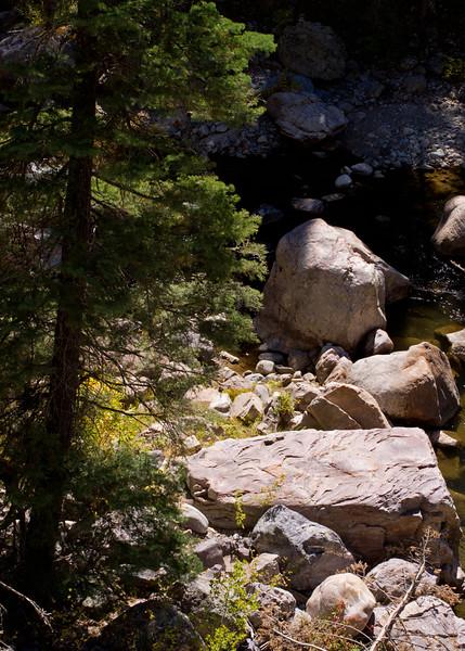 Rocks in the Rio Brazos; trail at Corkin's Lodge, Tierra Amarilla, New Mexico