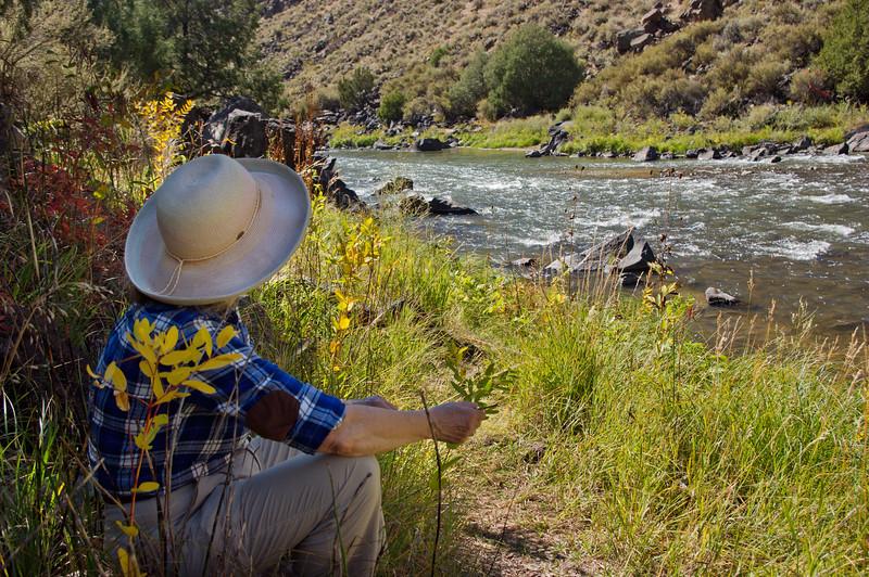 Rita on the banks of the Rio Grande River, near the John Dunn Bridge, New Mexico.