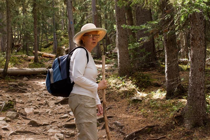 Rita on the trail to Williams Lake, Taos Ski Valley.