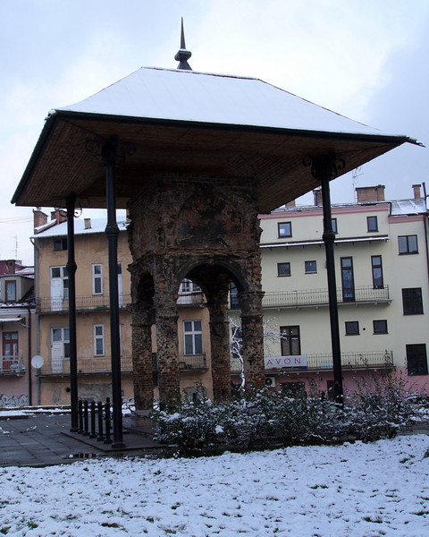 The bimah is all that remains of the Old Synagogue at Tarnow, destroyed by the Nazis on Nov 9, 1939.