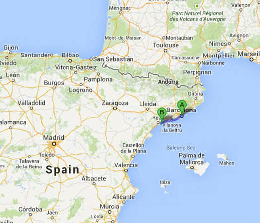 The drive from Barcelona to Tarragona.  It is about a 1 hour drive (100 km).