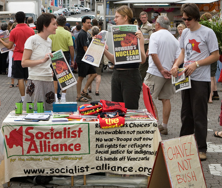 Political stand at Salamanca market.  We found that the Socialist Alliance folks were not the only Australians taking a dim view of our President.