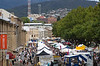 Salamanca Place in Hobart, where a huge street market is held each Saturday morning.