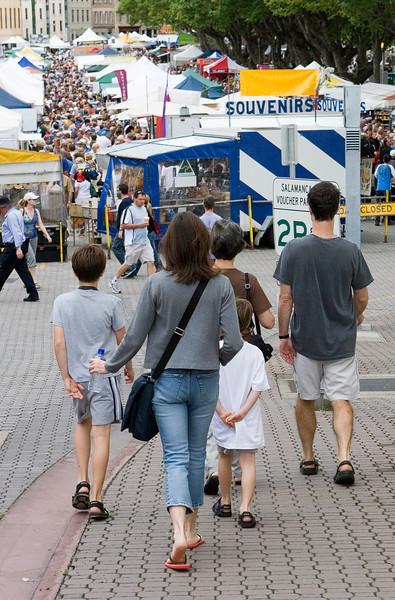Ben, Nancy, Noah, Sam & Grandma ready to take the plunge into the Salamanca market.