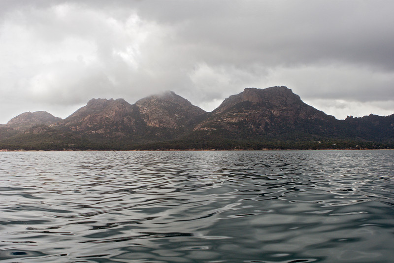 Hills in Freycinet Park, from fishing boat.