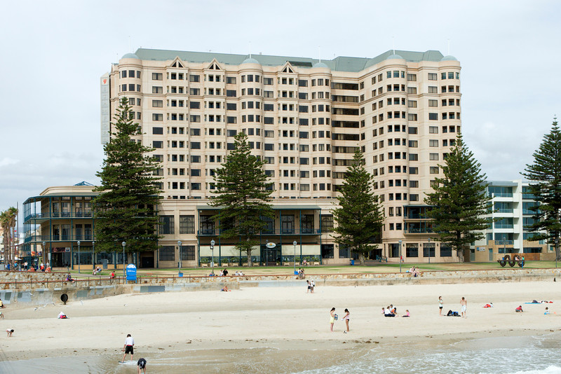 The Stamford Grand Hotel at Glenelg, the Adelaide suburb, where we stayed for three nights. Glenelg has hotels and condominiums near its center and then several miles of beachfront homes extending along the bay.  There are a number of good restaurants in the area and a tram to the center of downtown Adelaide.