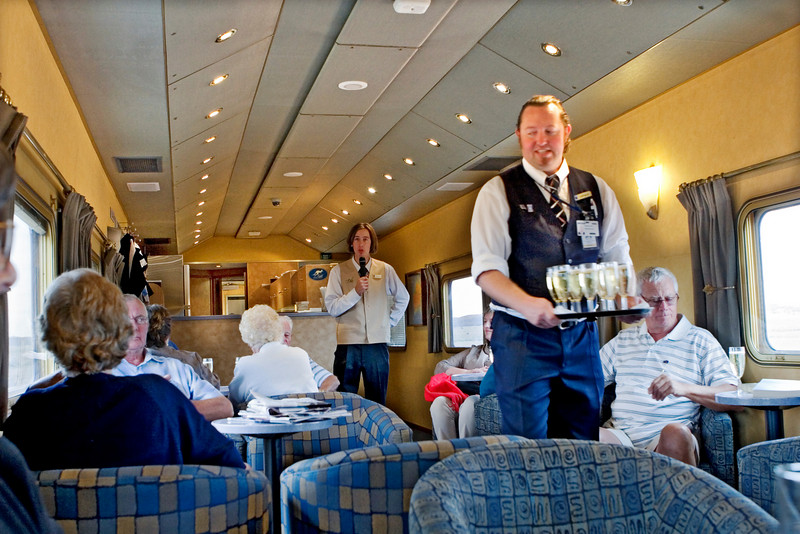 Complimentary champagne and orientation lecture in the lounge car.