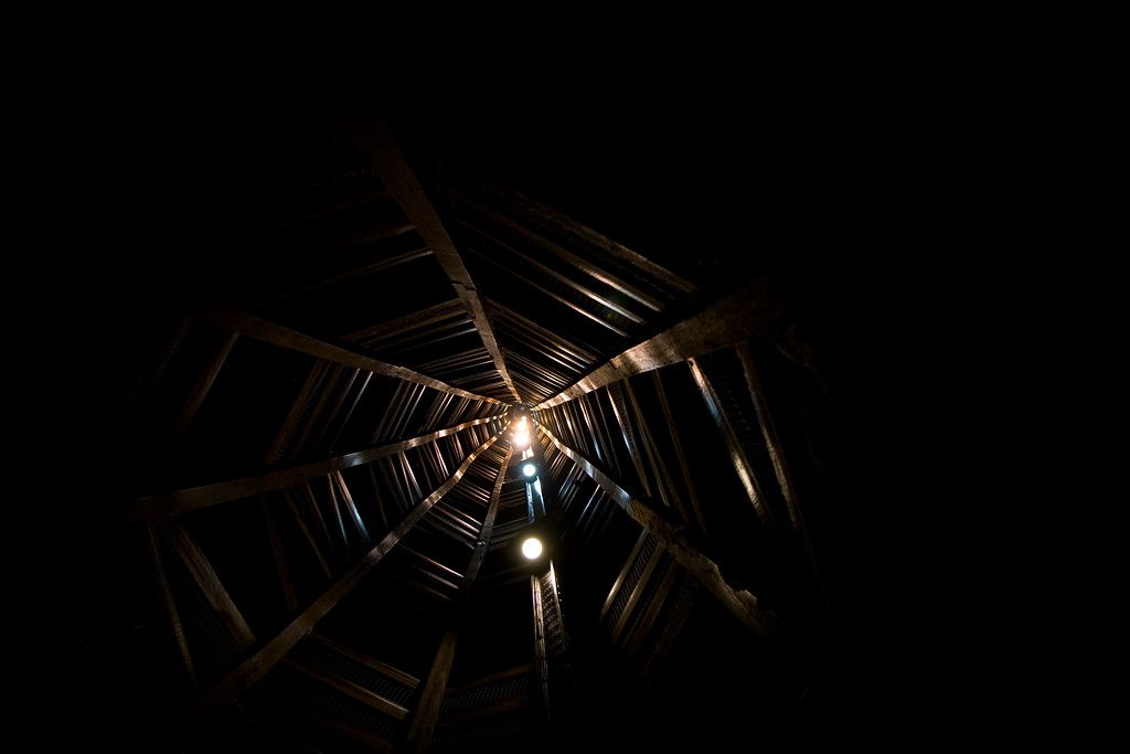 Looking up to the top of the Shot Tower. Yes I climbed it, but the view from the top down wasn't nearly as cool.