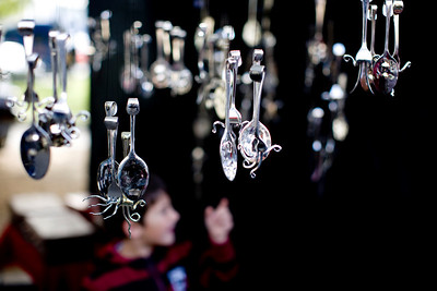 Every Saturday Hobart hosts a huge Farmers' Market. This silversmith's phantasmagorical silverware captivated a little boy.