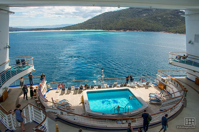 Golden Princess departing Wineglass Bay