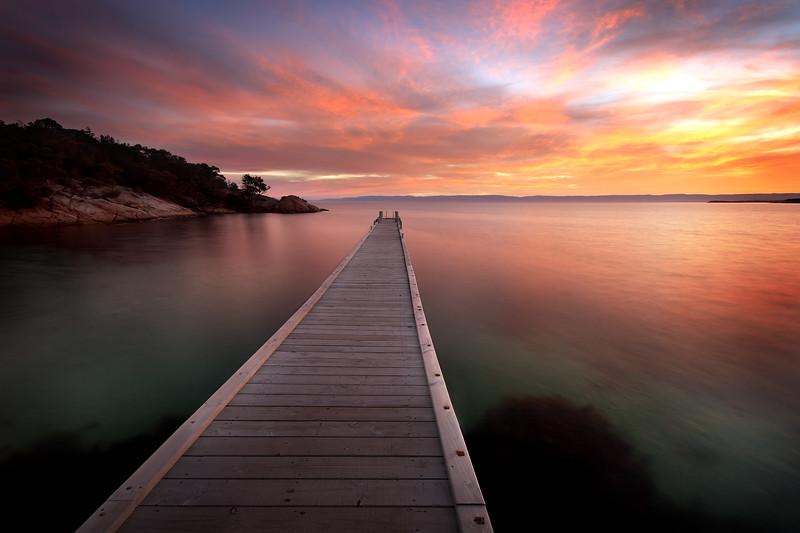 Jetty at Coles Bay.  Freycinet Peninsula, Tasmania.