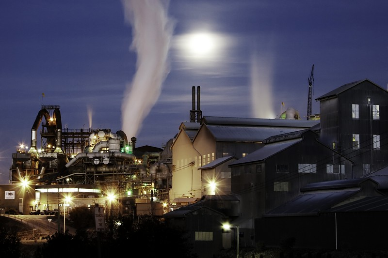 The zinc works in Hobart at night.